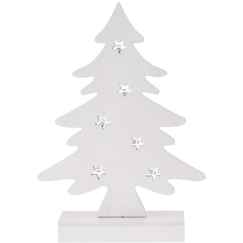 Wit houten kerstboompje decoratie 28 cm met LED verlichting