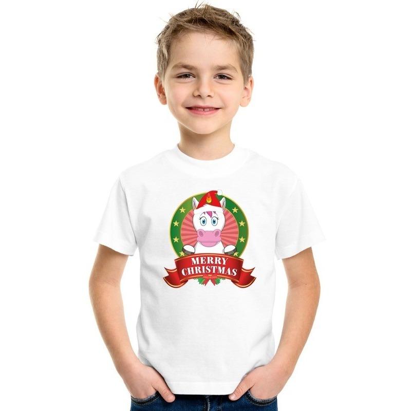 Wit Kerst t-shirt voor kinderen met een eenhoorn