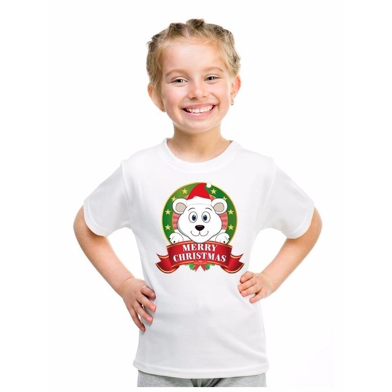Wit Kerst t-shirt voor kinderen met een ijsbeer