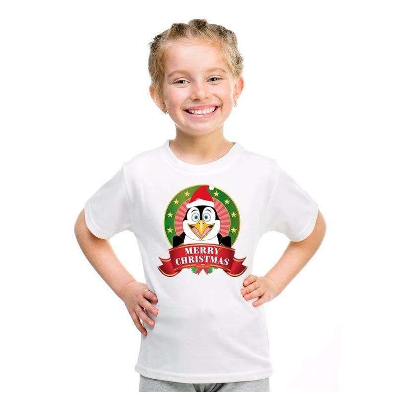 Wit Kerst t-shirt voor kinderen met een pinguin