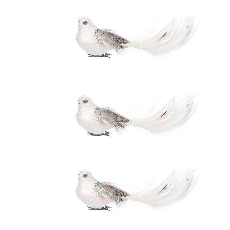 Witte decoratie vogeltjes op clip 3 stuks 18 cm