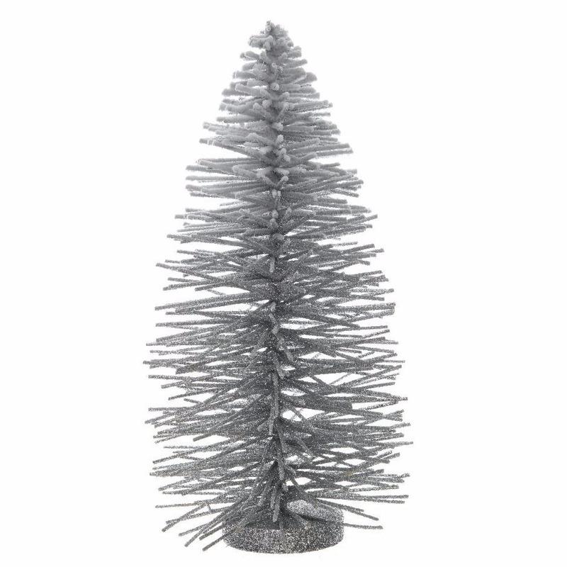 Zilveren glitter kunst kerstboom sneeuw 35 cm