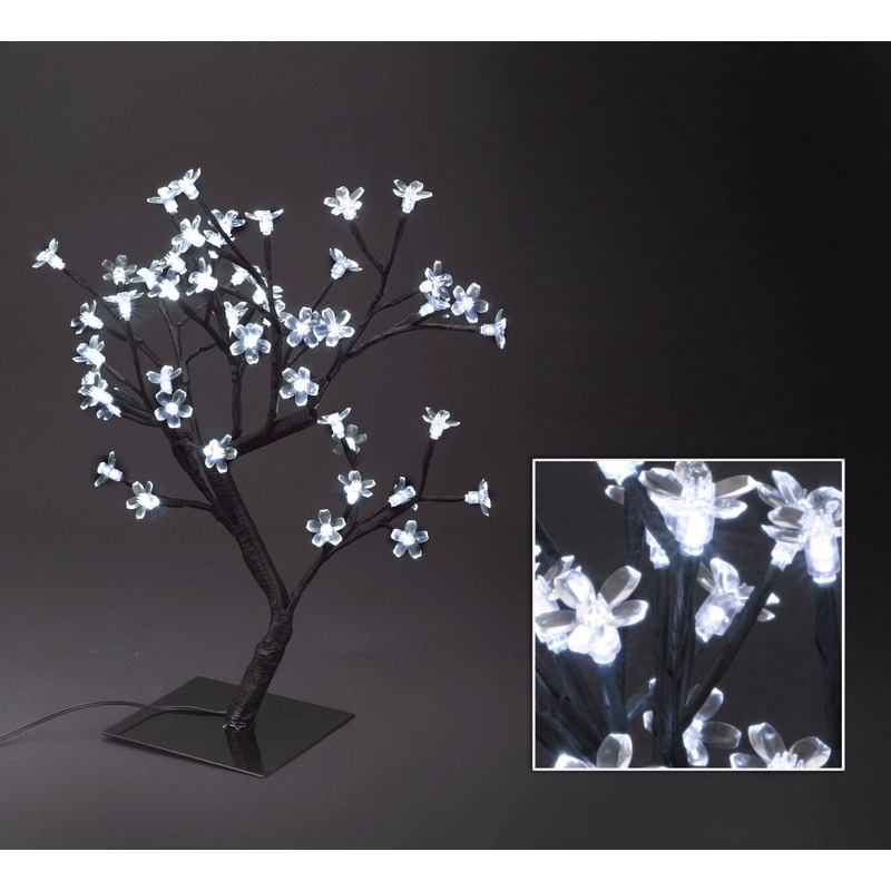 Zwart Boompje Met Witte Led Bloemetjes 45 Cm Voor Kerst Bestellen