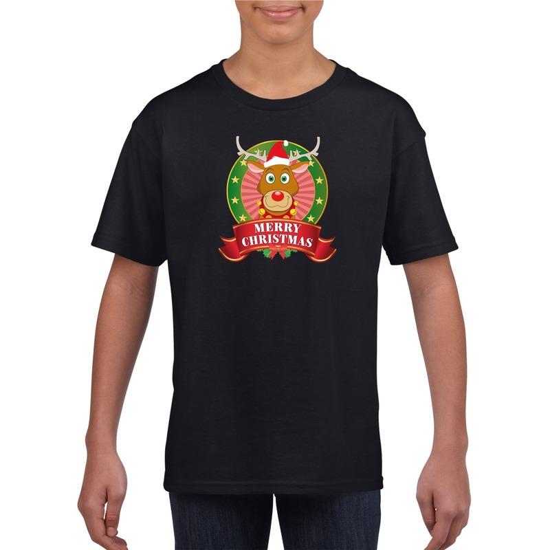 Zwart Kerst t-shirt voor kinderen met een rendier